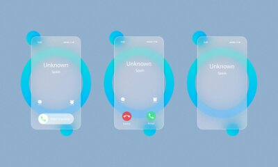 Sticker Ringing smartphone realistic set. Incoming call. Glassmorphism style. Vector illustration. Realistic glass morphism effect with set of transparent glass plates