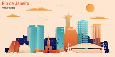 Rio de Janeiro city colorful paper cut style, vector stock illustration. Cityscape with all famous buildings. Skyline Rio de Janeiro city composition for design.