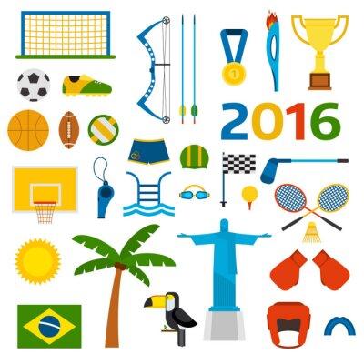 Sticker Rio Sommer Olympischen Spiele Symbole Vektor-Illustration
