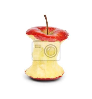 Sticker Ripe red apple core on white background