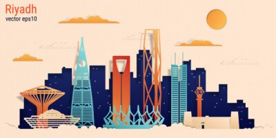 Riyadh city colorful paper cut style, vector stock illustration. Cityscape with all famous buildings. Skyline Riyadh city composition for design.