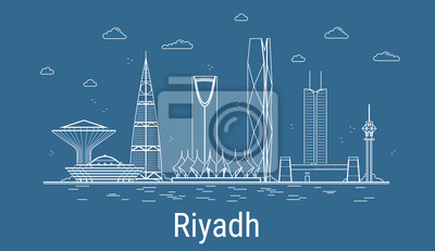 Riyadh city, Line Art Vector illustration with all famous towers. Linear Banner with Showplace. Composition of Modern buildings, Cityscape. Riyadh buildings set.