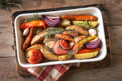 Sticker roasted seasonal vegetables