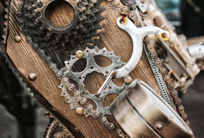 Roboter Mechanische Ratschen Schrauben und Muttern für Hintergrund. Stilisiert von einer steampunk mechanischen Textur.