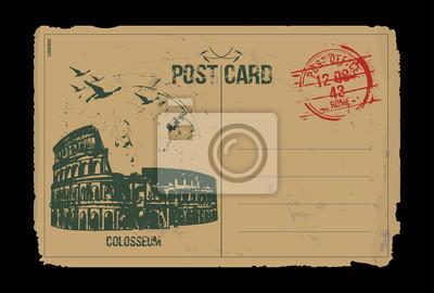 Rom, Kolosseum. Italien. Postkarten-Design. Hand gezeichnete Illustration.