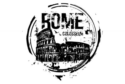 Rom, Kolosseum. Italien Stadt Design. Hand gezeichnete Illustration.