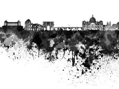 Sticker Rom Skyline in schwarzem Aquarell