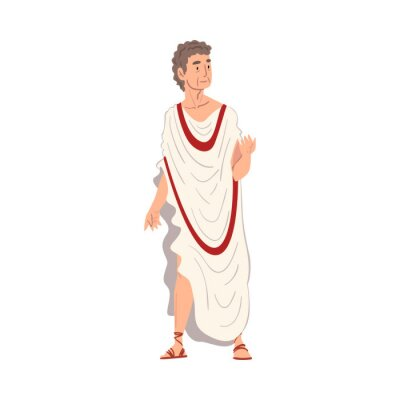 Sticker Roman Philosopher in Traditional Clothes, Ancient Rome Citizen Character in White Tunic And Sandals Vector Illustration