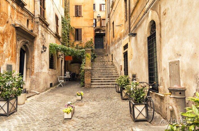 Sticker Romantische Gasse im alten Teil von Rom, Italien