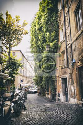 Romantische Straße im alten Teil von Rom im Weinleseart, Italien