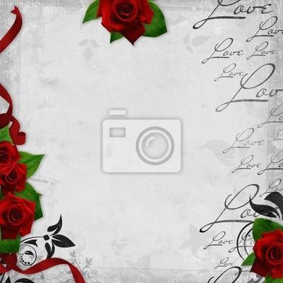 Romantische Vintage Hintergrund mit roten Rosen und Text Liebe (1 of