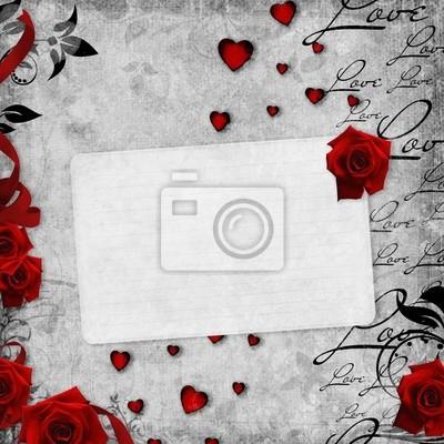 Romantische Vintage Hintergrund mit roten Rosen und Text-Liebe (1 von