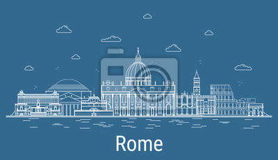 Rome city, Line Art Vector illustration with all famous buildings. Linear Banner with Showplace, Skyscrapers and hotels. Composition of Modern buildings, Cityscape. Rome buildings set.
