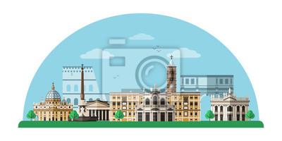 Rome cityscape flat illustration