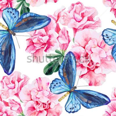 Sticker Rosa Azalee und blaue Schmetterlinge. Nahtloses, handgemaltes Aquarellmuster. Vektor Hintergrund