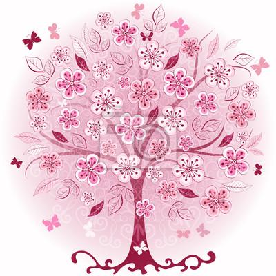 Rosa dekorative Baum Frühling
