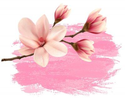 Sticker Rosa Farbe Magnolie Zweig Banner. Vektor.