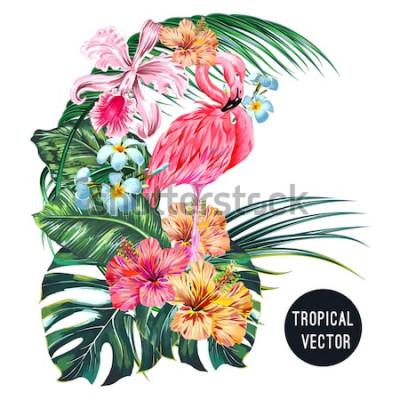 Sticker Rosa Flamingovogel, tropische Blumen, Palmblätter, Monstera, Plumeria, Hibiscus, Orchideenblume, Dschungelblattzusammensetzung. Vector die botanische Illustration der exotischen Pflanzen, die auf weiß
