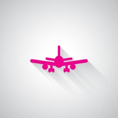 Sticker Rosa Flugzeug Web-Symbol auf hellgrauem Hintergrund