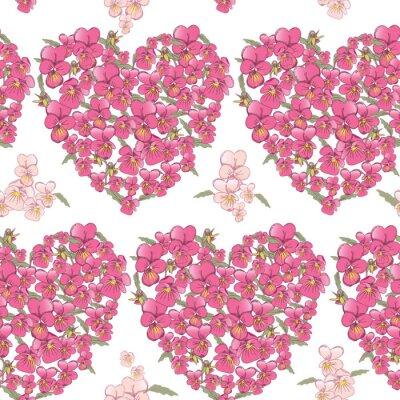 Sticker Rosa Herz von Stiefmütterchen auf einem weißen Hintergrund. Nahtlose Hintergrund