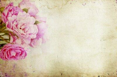 Sticker Rosa Rosen auf Vintage-Hintergrund