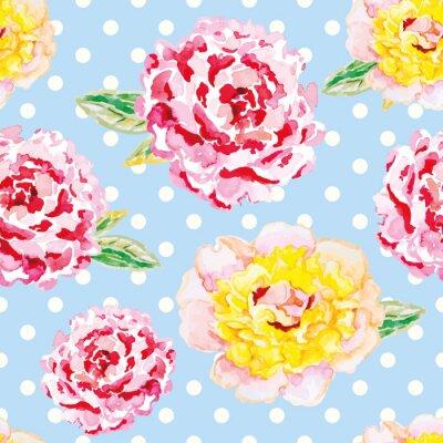 Sticker Rosa und gelbe Pfingstrosen auf dem hellblauen Tupfenhintergrund. Watercolor nahtlose Muster mit Blumen. Schäbiger Chic.