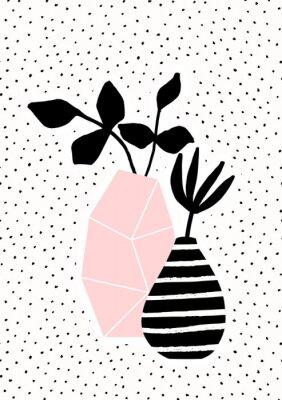 Rosa und gestreifte Vase mit Zweigen