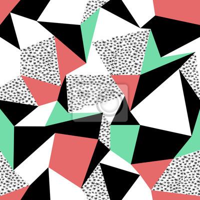Rosa und grünes Dreieckmusterentwurf. Nahtlose Druck im Retro-