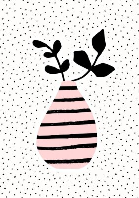 Rosa Vase mit Zweigen