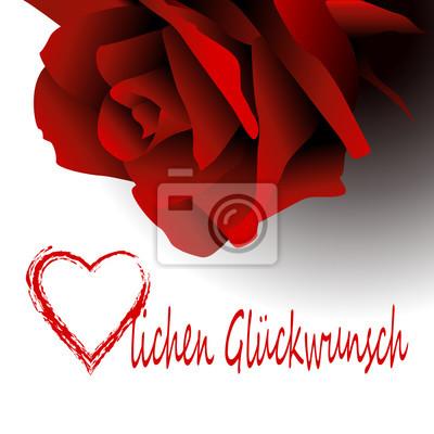 Rose Rot Rote Herz Herzlich Herzlichen Gluckwunsch Geburtstag