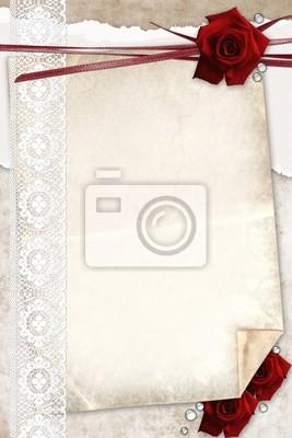Rosen-Karte mit Spitzen, Bänder und alten Gutshof Papier