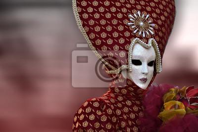Rosso veneziano maschera di carnevale di Venezia, Italien