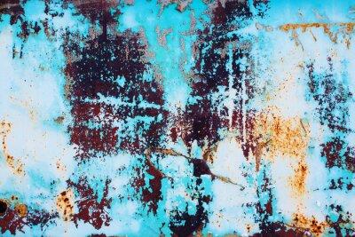 Sticker Rostigen Metall mit gebrochenen blauen Farbe. Farbigen Hintergrund von rostigen Eisen Oberfläche mit einem hellen blauen Farbe Peeling und rissige Textur