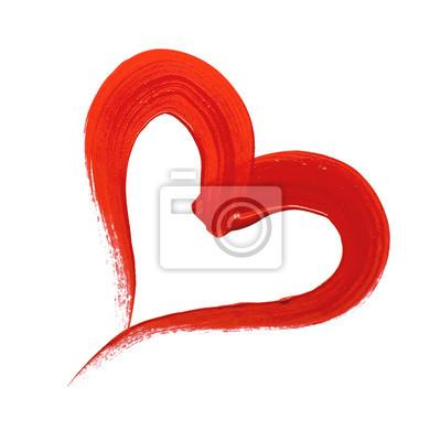 Rot bemalte Herzen