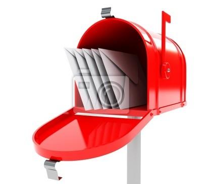 Rot-Mailbox mit E-Mails