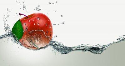 Sticker Rot, saftig Apple in einem Spray von Wasser.