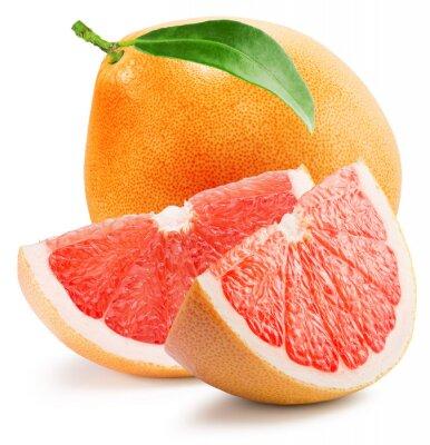 Sticker Rote Grapefruit mit Scheibe auf dem weißen Hintergrund isoliert
