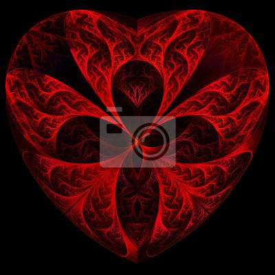 Rote Herzen Fraktale auf schwarzem Hintergrund. Computer generierte grafische