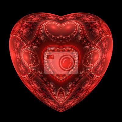 Sticker Rote Herzen Fraktale auf schwarzem Hintergrund. Computer generierte grafische