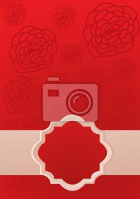 Rote Karte mit Rose und Rahmen für Text