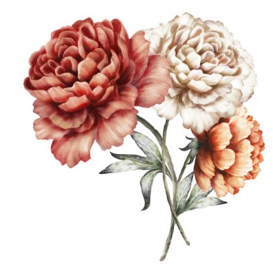 Sticker Roten Pfingstrosen. Aquarellblumen. Blumenabbildung in den Pastellfarben. Bouquet von Blumen isoliert auf weißem Hintergrund. Blatt. Romantische Zusammensetzung für Hochzeit oder Grußkarte.