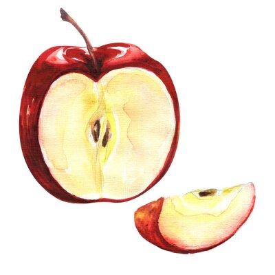 Sticker Roter Apfel auf weißem Hintergrund isoliert Ausschnitt