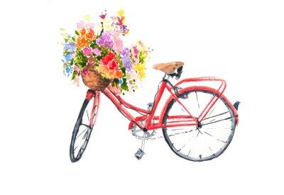 Sticker Rotes Retro- Fahrrad mit bunten Blumen im Korb, Aquarellillustrator, Fahrradkunst, kann für Hauptdekoration benutzt werden