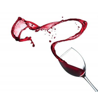 Sticker Rotwein spritzt aus Glas, isoliert auf weißem Hintergrund