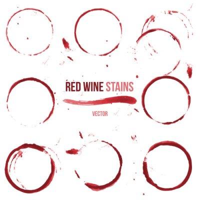 Sticker Rotweinflecken auf weißem Hintergrund