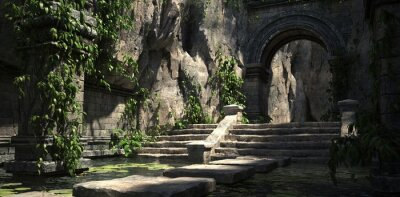 Sticker Ruins of the sacred temple with green vegetation. Beautiful natural wallpaper. 3D illustration.