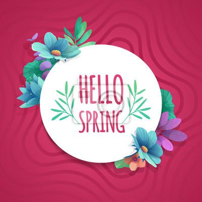 Runder Banner mit dem Hello Spring Logo. Karte für Frühlingssaison mit weißem Rahmen und Kraut. Promotion-Angebot mit Frühlingspflanzen, Blättern und Blumen Dekoration auf rosa Hintergrund. Vektor