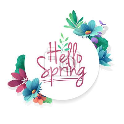 Runder Banner mit dem Hello Spring Logo. Karte für Frühlingssaison mit weißem Rahmen und Kraut. Werbeangebot mit Frühlingspflanzen, Blättern und Blumendekoration. Vektor
