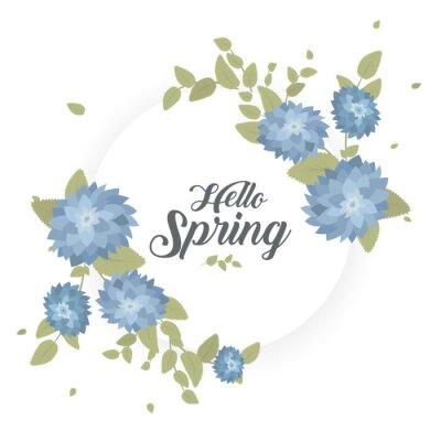 """Runder Banner mit dem Logo """"Hallo Frühling"""". Karte für Frühjahrssaison mit weißem Rahmen und Kraut. Aktionsangebot mit Frühlingspflanzen, Blättern und Blumendekoration. Vektor."""