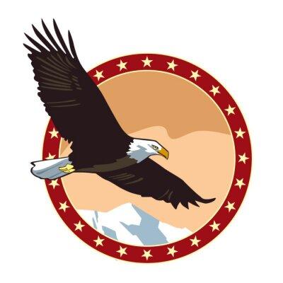 Runder Hintergrund des Adlers runder Emblems. Vektorzeichnung
